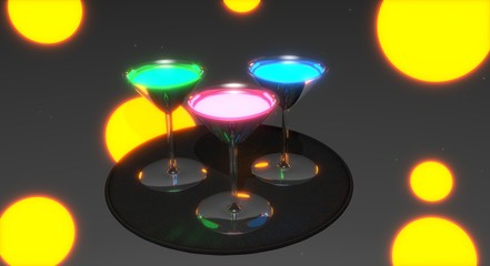 Three glowing drinks in reflective glasses on a tray, with yellow lights at the background.