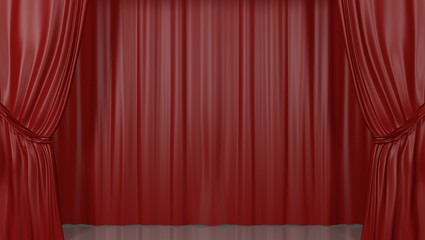 Red stage curtains, lowered. 3D Render.