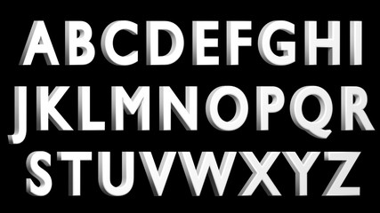 White 3D uppercase alphabet. Facing RIGHT version. Black background.