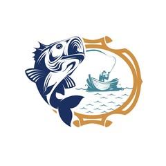 Marine fish logo design