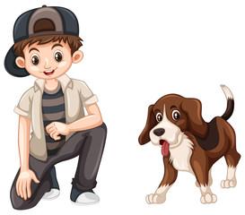 Little boy and cute beagle dog