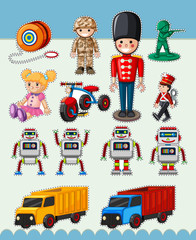 Sticker design with many types of toys