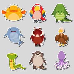 Sticker design with different types of animals