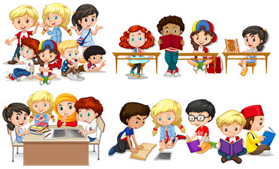 Happy children learning in classroom