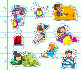 Sticker design with kids relaxing in bed and sofa