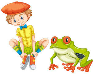 Green frog and little boy