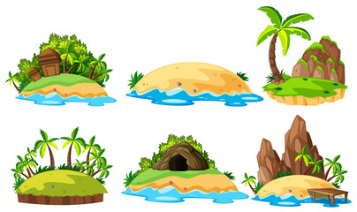Six views of islands on white background