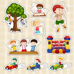 Sticker set for children playing