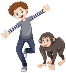 Chimpanzee and happy boy