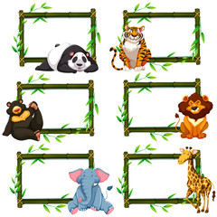 Six bamboo frames with wild animals