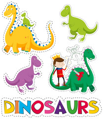 Dinosaurs and prince in sticker design