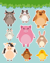 Sticker set with cute animals
