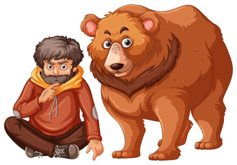 Man and grizzly bear on white background