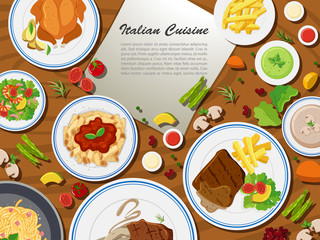Italian cuisine with different types of food