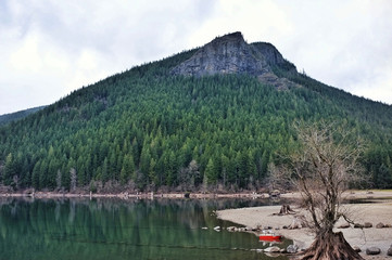Little Red Boat on Rattlesnake Lake