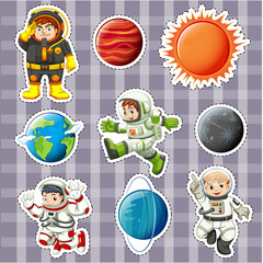 Sticker design with astronaunts and planets.