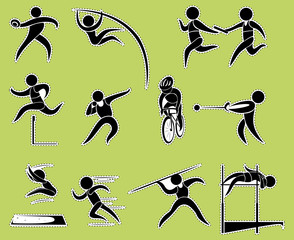 Sticker design with track and field sports