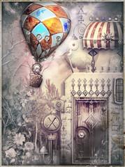 Casa fiabesca e bizzarra in un paesaggio surreale con volo di mongolfiere