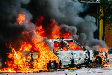 Burning police car