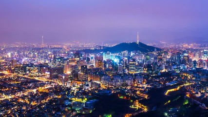 Wall Mural - Cityscape of Seoul with Seoul tower at night, South Korea.