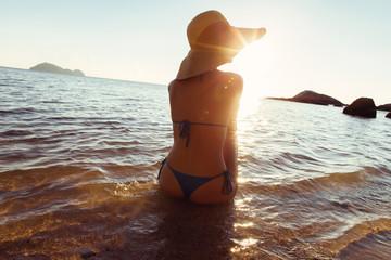 Beautiful Woman Watching Sunset on Beach