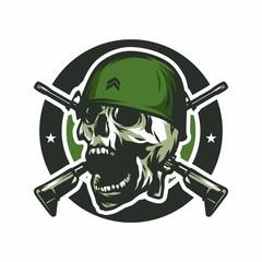 Skull army soldier crime vector design illustration