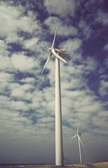 Wind turbine at shore line