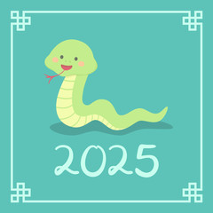 Chinese New Year 2025 Cute Snake Zodiac Character Vector Illustration Cartoon Greeting Card