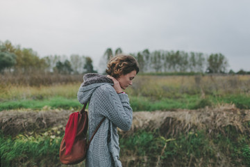 Woman with Pack in Nature