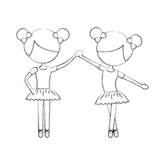two ballet girl dance standing in pose