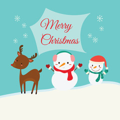 Christmas card with snowman and deer