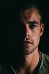 Man's Portrait in Dark