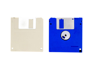 Two floppy disk or diskette for PC computer isolated on white background