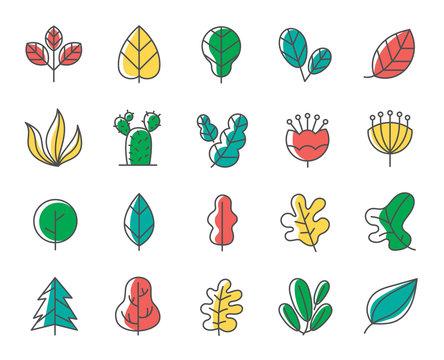 Leaf and tree line icon set