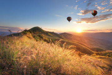 Printed roller blinds Deep brown Hot balloon air over doi Chang at sunset ,Chiang Rai, Thailand.
