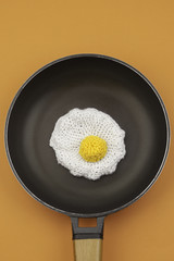 Amigurumi fried egg in pan