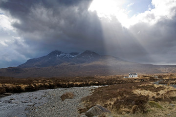 Mount Cullin in Scotland  with dramatic light