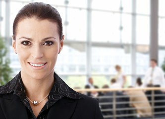 Businesswoman in business lobby