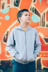 Boy portrait on Graffiti Wall