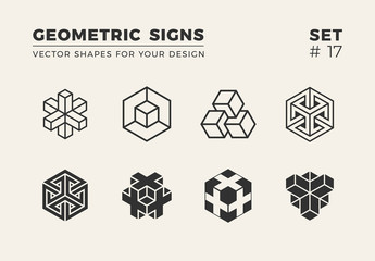 Set of eight minimalistic shapes. Stylish vector logo emblems for Your design. Simple creative geometric signs collection.