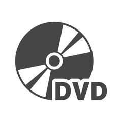 Black dvd icon isolated on white