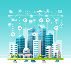 Poster Turquoise Urban landscape with buildings, skyscrapers and transport traffic. Concept of smart city with different icons. Vector illustration.
