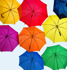 open colorful umbrellas
