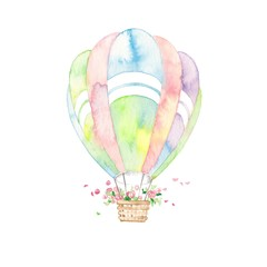 七色気球、花かご