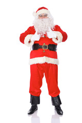 Santa Claus standing with thumbs up or ok isolated on white background. Full length portrait