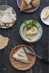 Food: Hummus with flatbread
