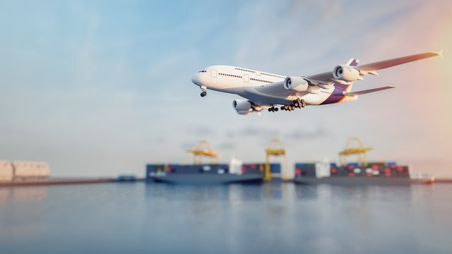 Plane trucks are flying towards the destination with the brightest.