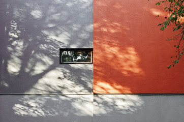 Shadows of the tree on the gray red building facade