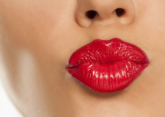 red lipstick and kiss