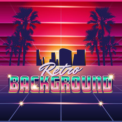 New Retro Wave Background. Synthwave Retro Design And Elements. Isolated artwork object. Suitable for and any print media need.